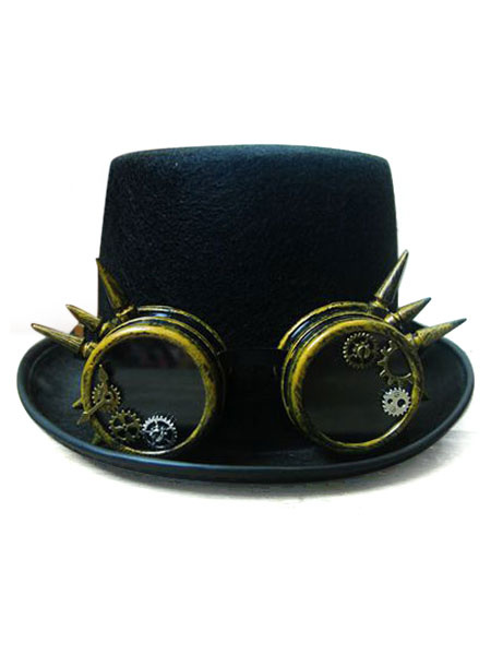 Milanoo Steampunk Top Hat Black Vintage Chain Retro Costume Accessories Halloween