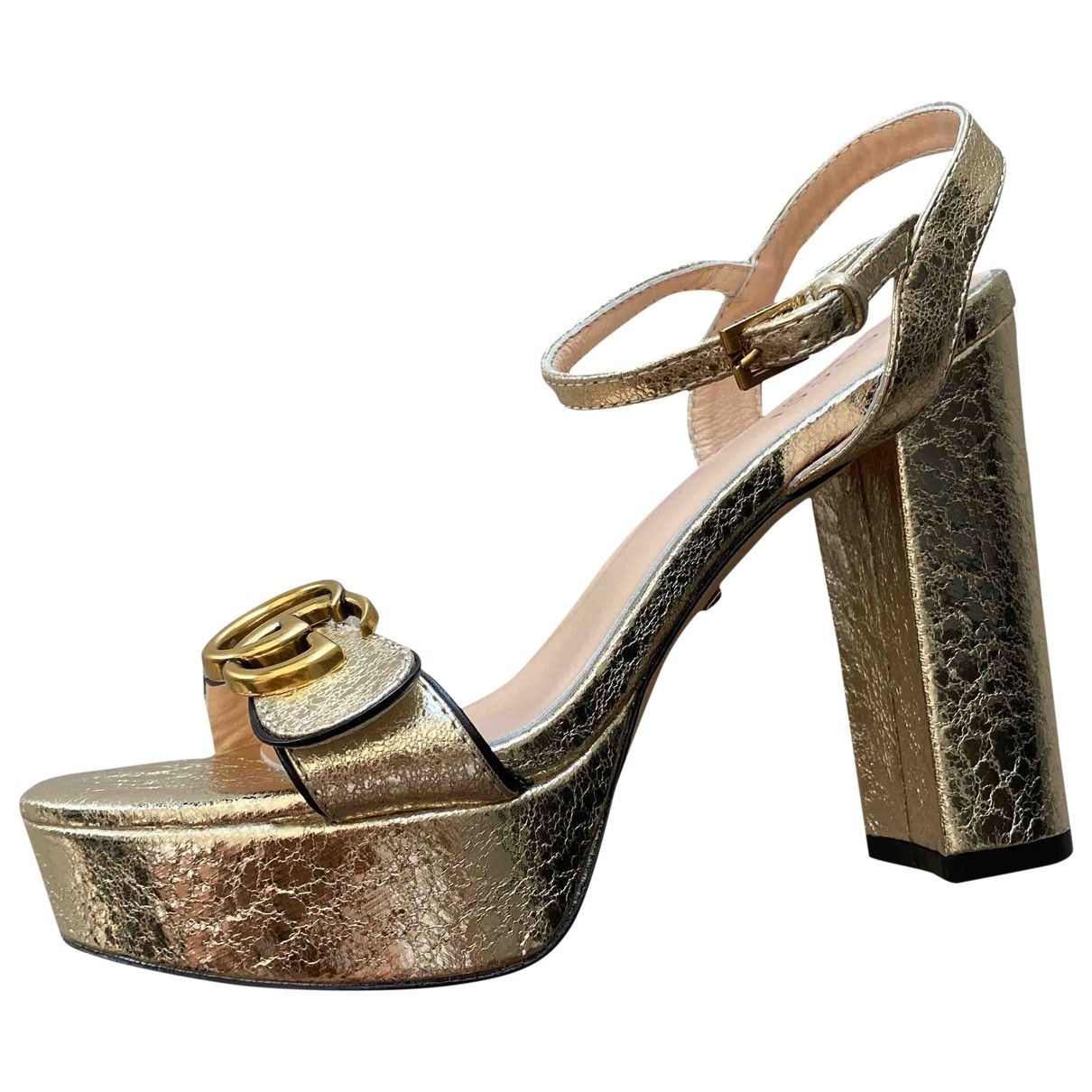 Gucci Double G Gold Leather Sandals for Women 38 IT