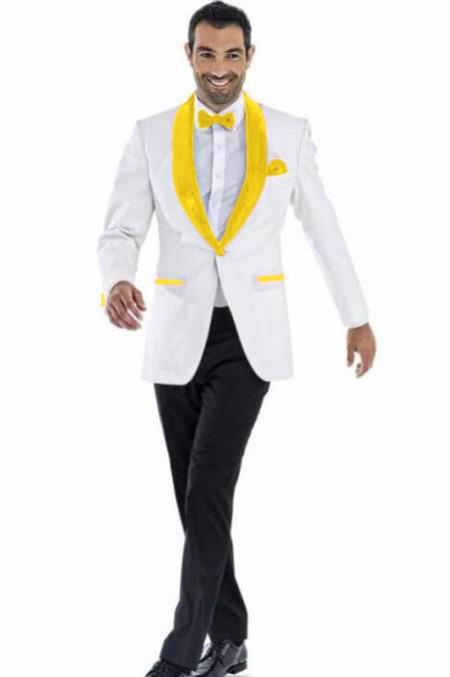 Mens Blazer White ~ Bright Gold