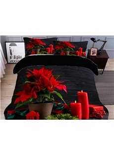Red Floral and Candles 3D Duvet Cover Set 4-Piece Polyester Soft Bedding Sets