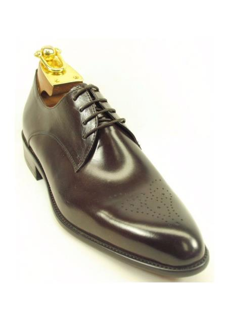 Men's Lace Up Chestnut Calf Skin Leather Perforated Oxford Shoes
