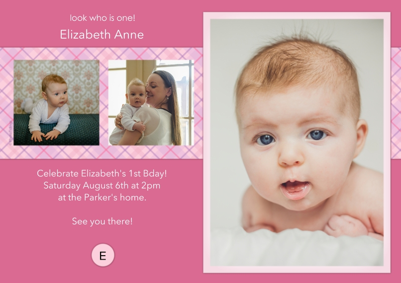 1st Birthday Invitations 5x7 Cards, Standard Cardstock 85lb, Card & Stationery -Pink Monogram