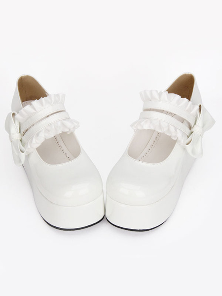 Milanoo Sweet Lolita Shoes Black Round Toe Platform Low Top Mary Jane Shoes
