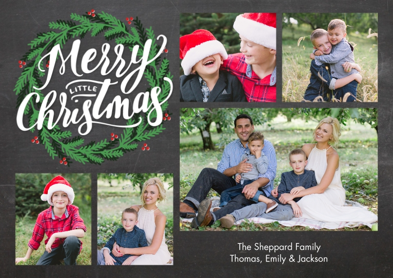 Christmas Photo Cards 5x7 Cards, Premium Cardstock 120lb with Rounded Corners, Card & Stationery -Christmas Green Wreath