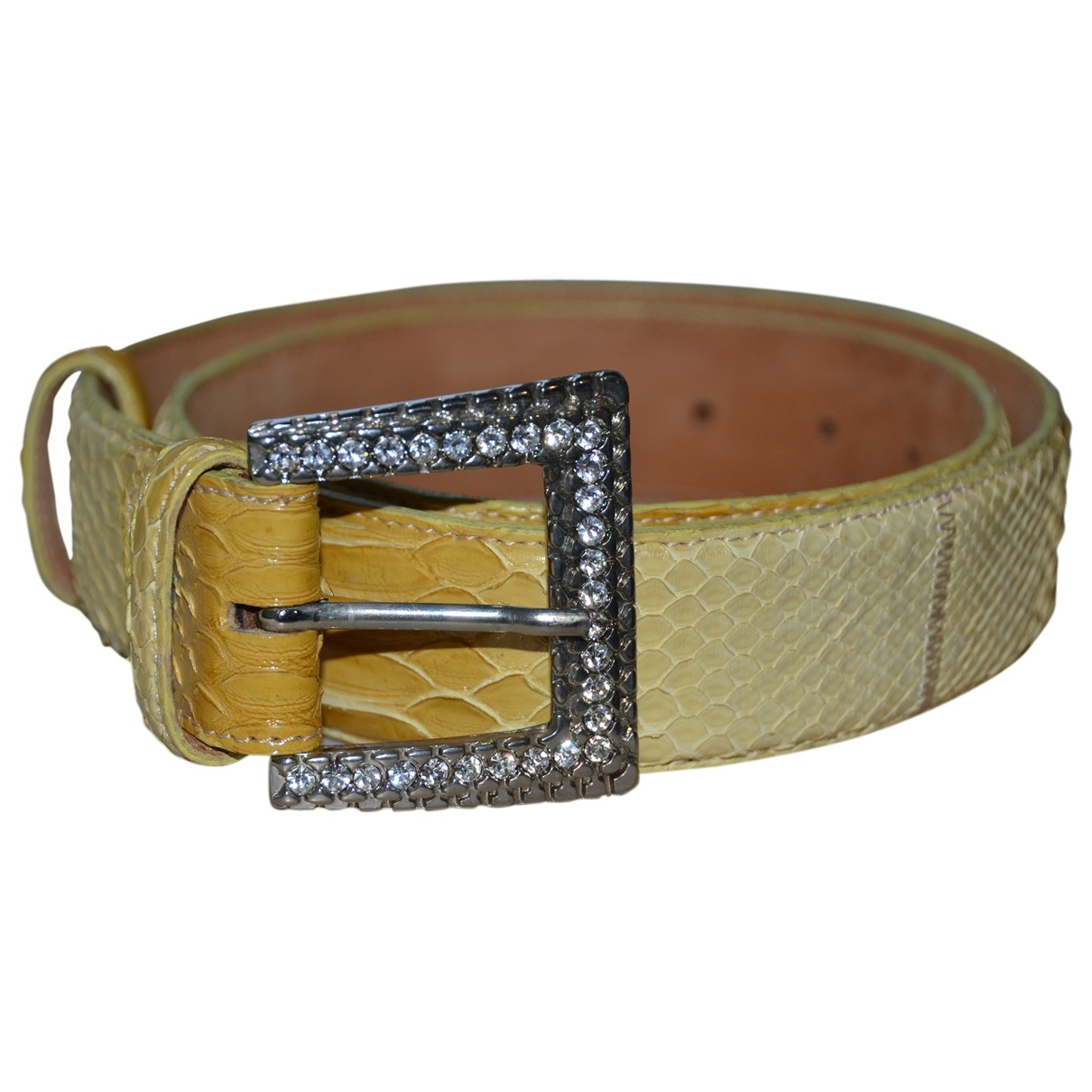 Non Signé / Unsigned \N Yellow Python belt for Women 90 cm