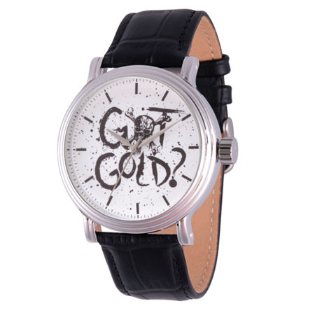 Disney Pirates of the Carribean Mens Black Leather Strap Watch-Wds000371, One Size , No Color Family