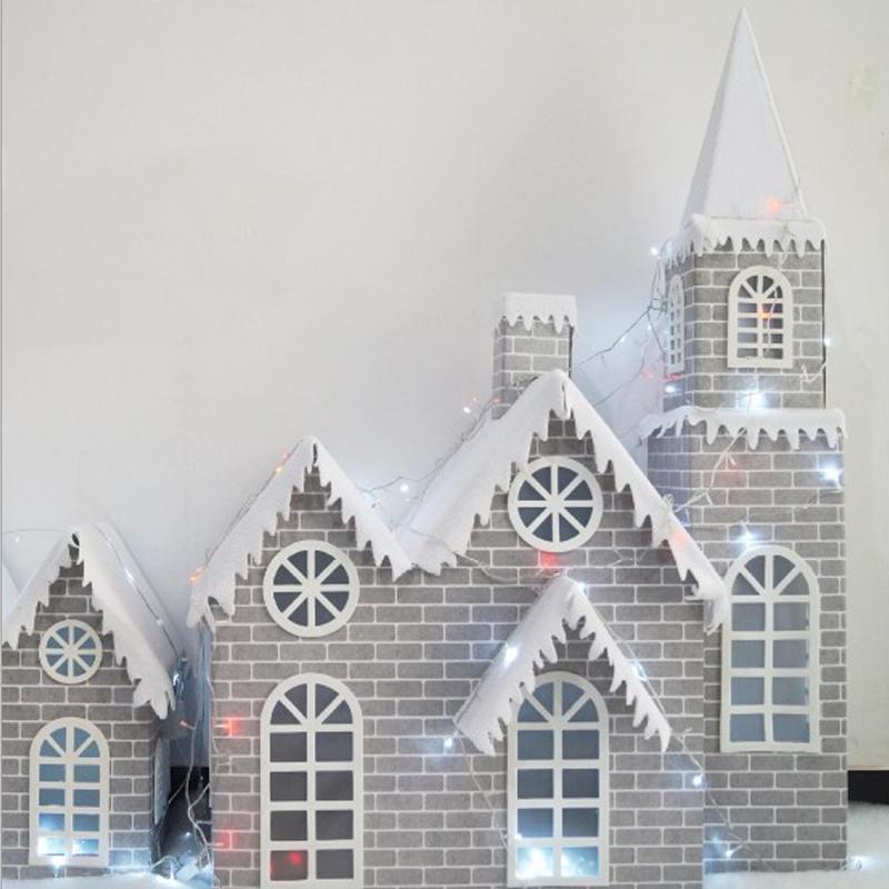3.6/4.6 Feet Gray Brick Paper Christmas Castle Full of Snow Decoration