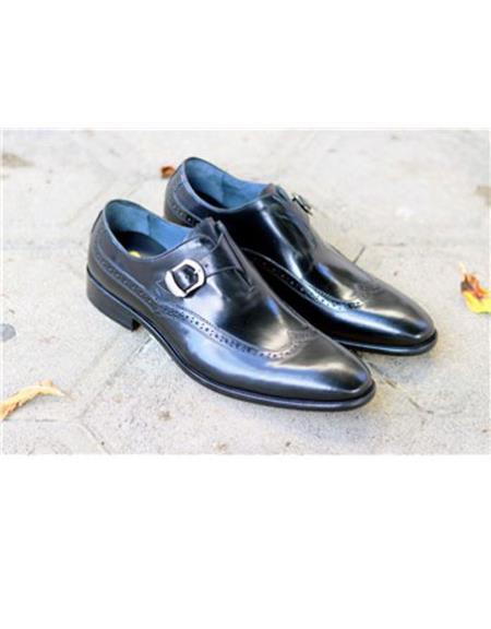 Mens Wingtip Design Slip On Black Carrucci Shoe