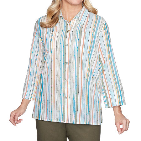 Alfred Dunner Colorado Springs Womens 3/4 Sleeve Blouse, X-large , Blue