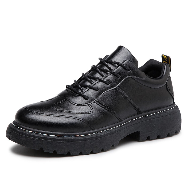 Men British Style Pure Color Lace Up Slip Resistant Casual Leather Shoes