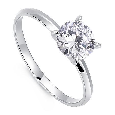 1 1/4 CT. T.W. Cubic Zirconia Platinum Over Silver Round Solitaire Engagement Ring, One Size , No Color Family