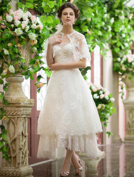 Milanoo Fashion Ivory A-line Sequin Asymmetrical Destination Wedding Dress