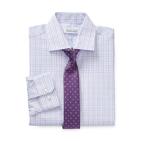 Collection by Michael Strahan Little & Big Boys Spread Collar Long Sleeve Shirt + Tie Set, 6 , Purple