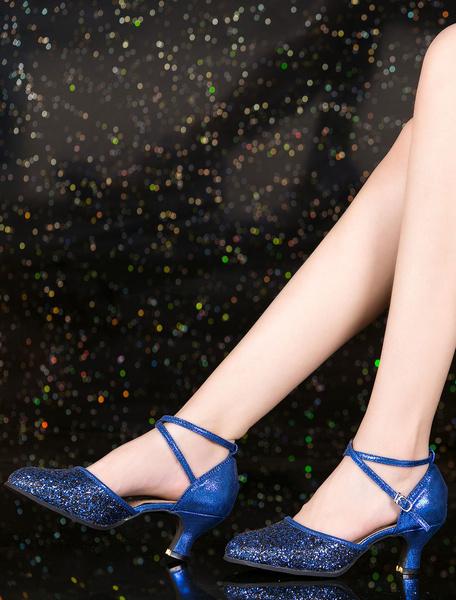 Milanoo Silver Dance Shoes 2020 Glitter Round Toe Criss Cross Latin Dancing Shoes Ballroom Shoes