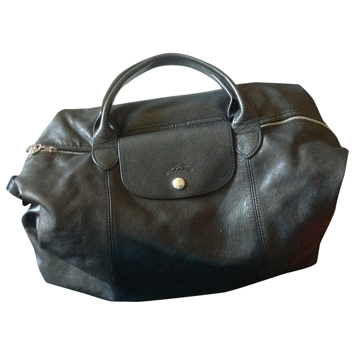Longchamp Pliage  Black Leather handbag for Women \N