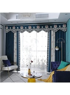 American Pastoral Style Upscale Thick Chenille Blackout Custom Grommet Curtains with Elegant Flowers Pattern
