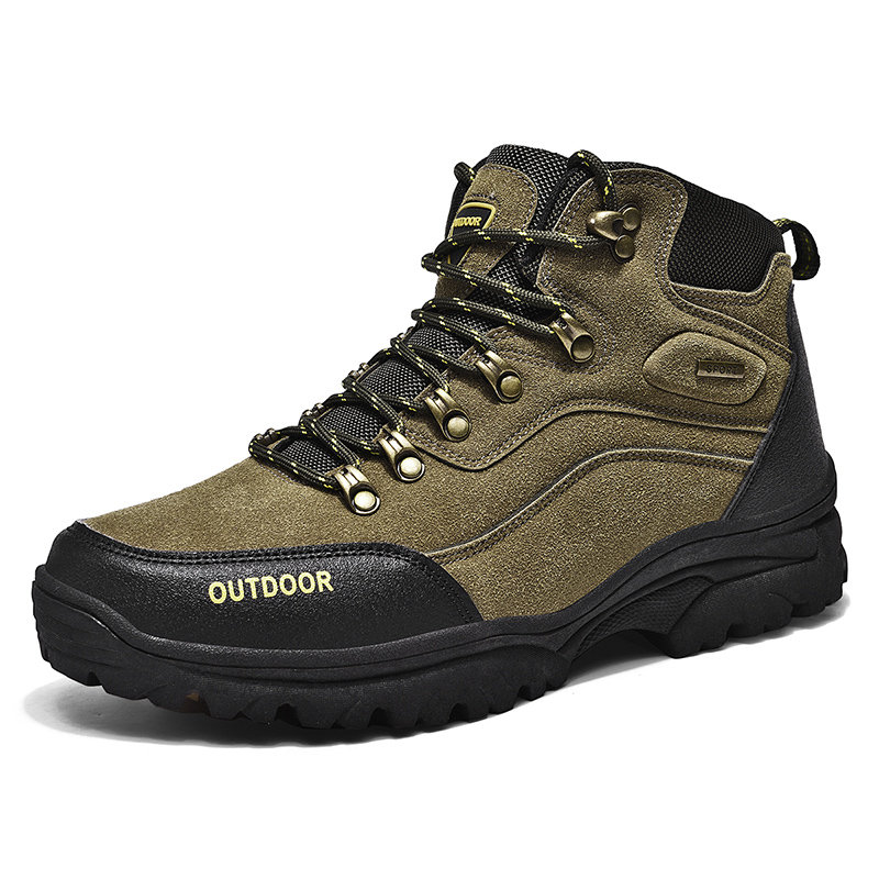 Men Outdoor Suede Lace Up Comfy Slip Resistant Hiking Boots