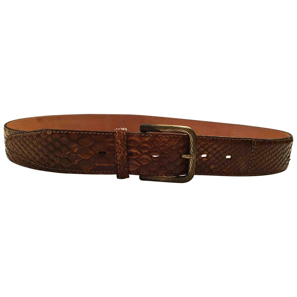 Non Signé / Unsigned \N Brown Python belt for Men 95 cm