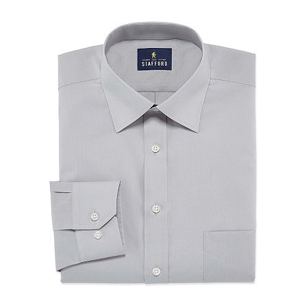 Stafford Mens Travel Easy-Care Broadcloth Stretch Fitted Dress Shirt, 16.5 34-35, Gray