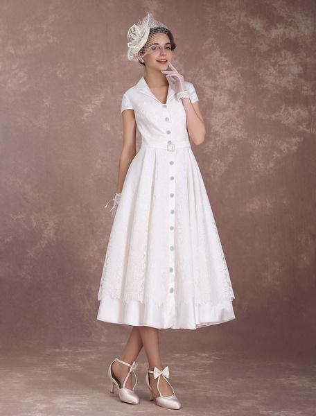 Milanoo Vintage Wedding Dress Short Sleeve Ivory 1950's Vintage Button Up A Line Tea Length Wedding Reception Dress
