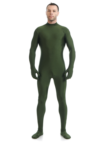 Milanoo Dark Green Morph Suit Adults Bodysuit Lycra Spandex Catsuit
