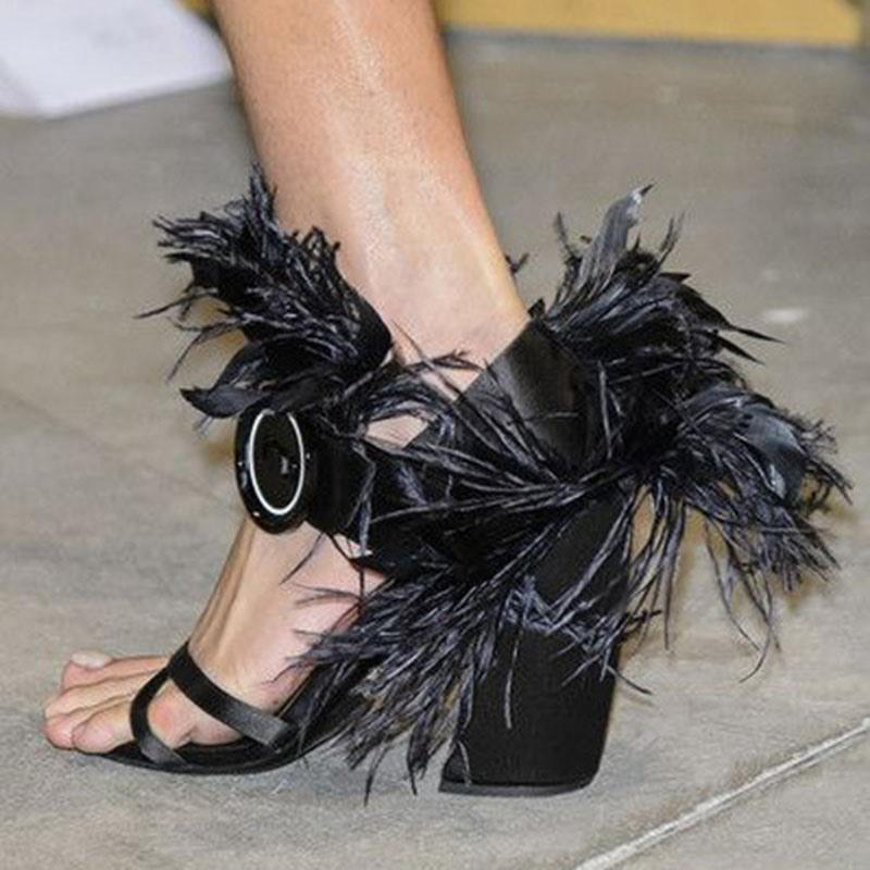 Ericdress Heel Covering Chunky Heel Buckle Feather Sandals
