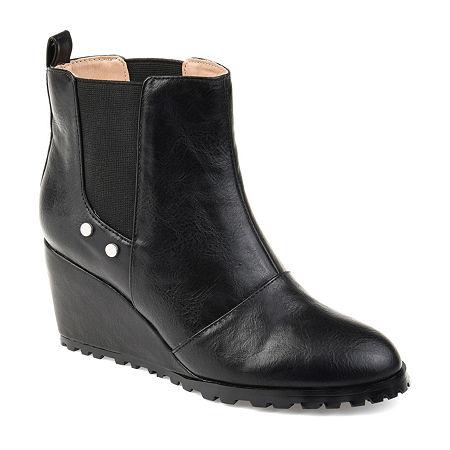 Journee Collection Womens Jessie Booties Pull-on Wedge Heel, 11 Medium, Black