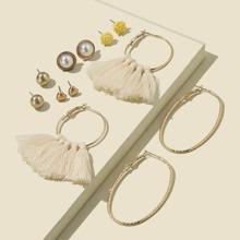 6pairs Flower & Tassel Decor Earrings