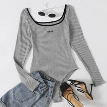 Scoop Neck Letter Embroidery Rib-knit Bodysuit