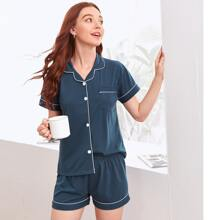 Button Through Contrast Piping PJ Set
