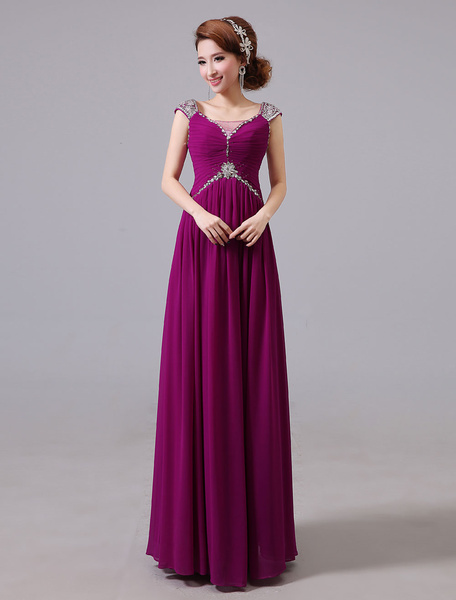 Milanoo Evening Dresses Formal Chiffon Long Prom Dress Beading Ruched Floor Length Special Occasion Dress