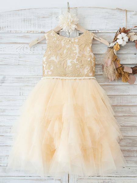 Milanoo Flower Girl Dresses Jewel Neck Tulle Sleeveless Knee-Length Princess Silhouette Sash Formal Kids Pageant Dresses