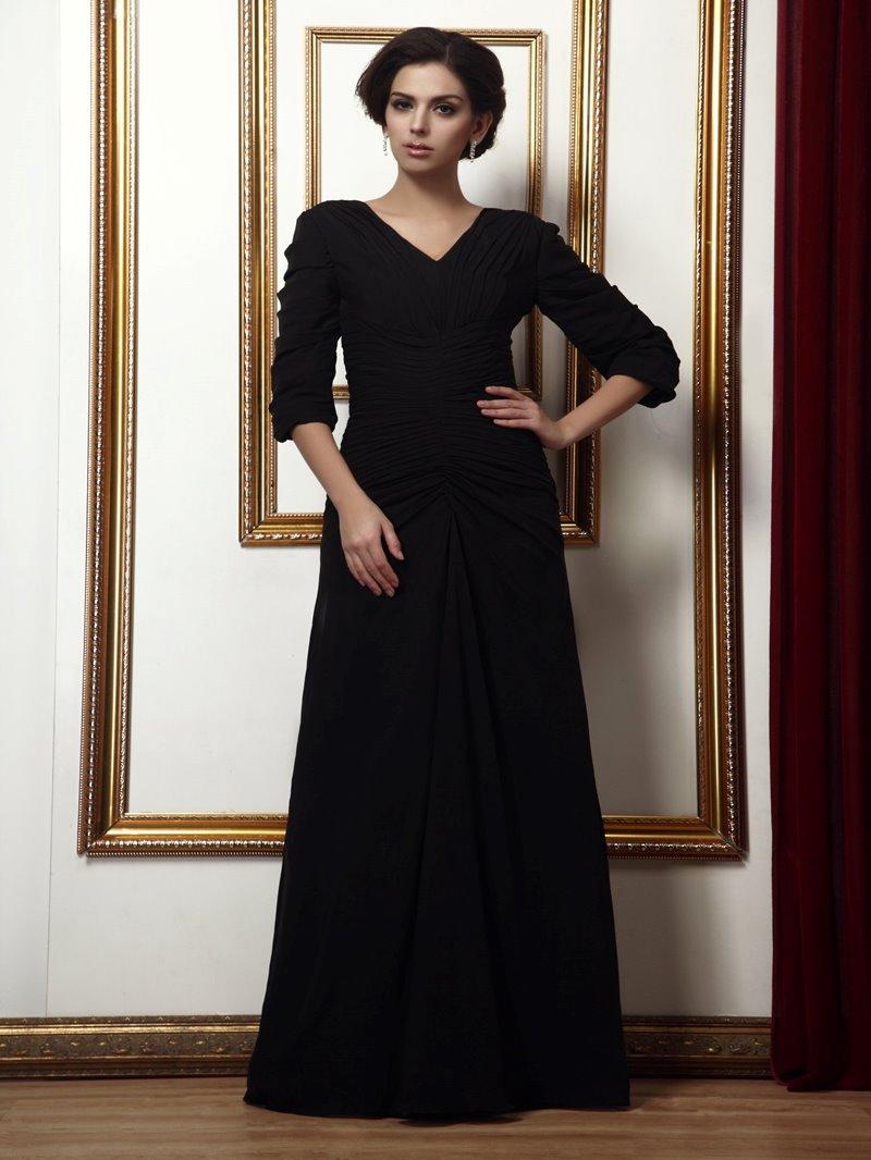 Fashion V-Neck Half-Sleeves Floor-length Mother of the Bride Dress