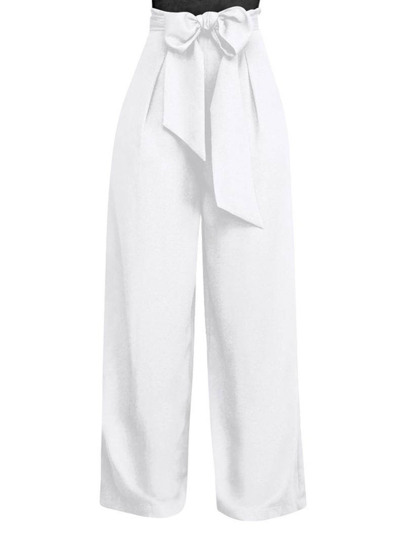 Ericdress Lace-Up Plain Wide Legs Women's Pants