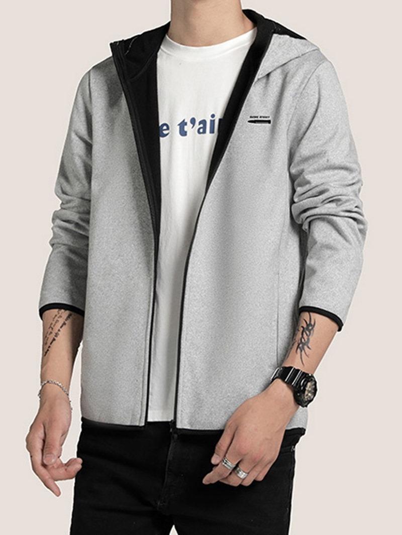 Ericdress Zipper Color Block Hooded Spring Men's Jacket