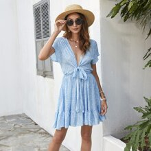 Plunging Neck Ditsy Floral Tie Front Dress