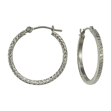 14K Gold Square-Cut Hoop Earrings, One Size , No Color Family