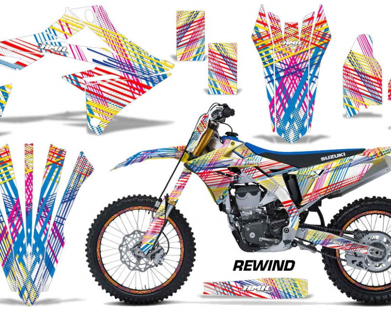 AMR Racing Graphics MX-NP-SUZ-RMZ450-2018+-REW Kit Decal Sticker Wrap + # Plates For Suzuki RMZ450 2018+áREWIND