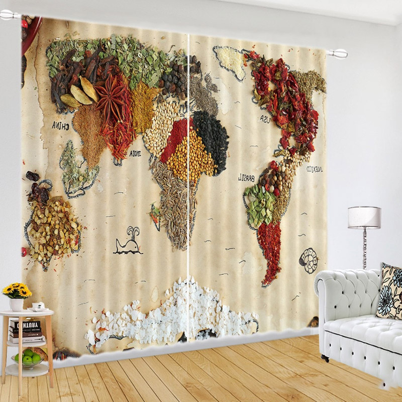 Beddinginn 3D Creative Map Decoration Curtain