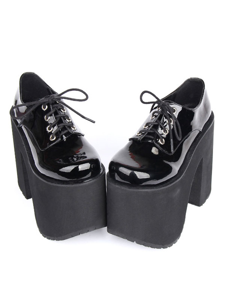 Milanoo Black Lolita Boots Chunky Heel Platform Lace Up Lolita Footwear