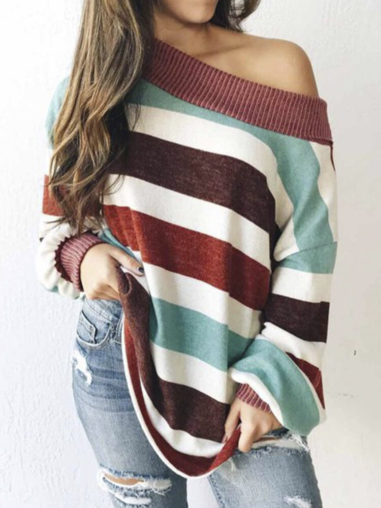 Striped Elastic Long Sleeve Loose Plus Size Sweater