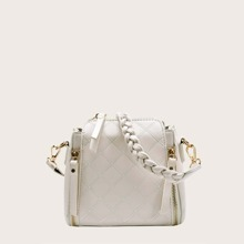 Double Zipper Decor Quilted Shoulder Bag