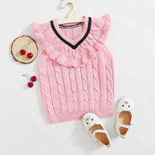 Toddler Girls Cable Knit Frill Trim Sweater Vest