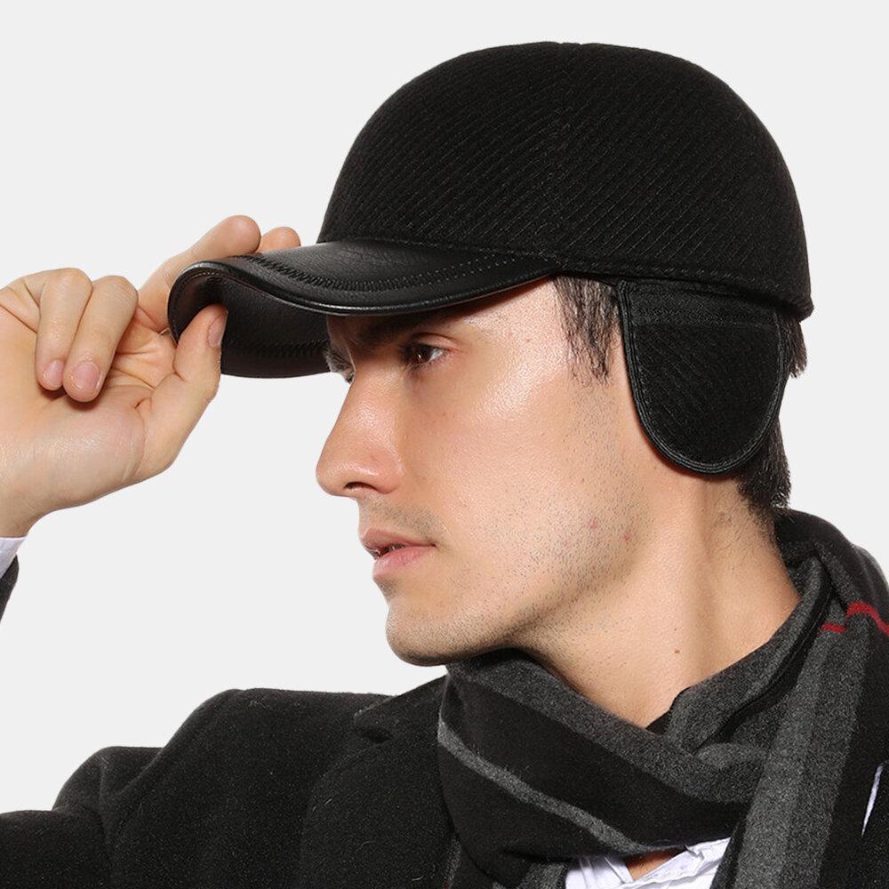 Men's Warm Outdoor Earmuffs Leather Hat Baseball Cap