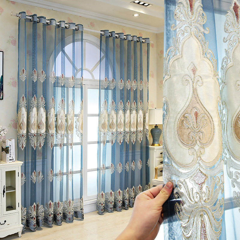 Classic Custom Embroidered Living Room Sheer Curtains Breathable Blue Voile Drapes No Pilling No Fading No off-lining