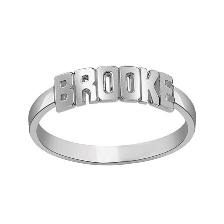 Personalized Block Name Ring, 8 , White