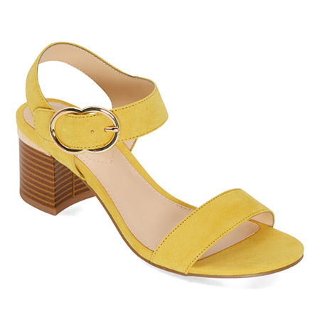 Liz Claiborne Womens Lovey Heeled Sandals, 7 1/2 Wide, Yellow