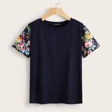 Floral Print Sleeve Tee