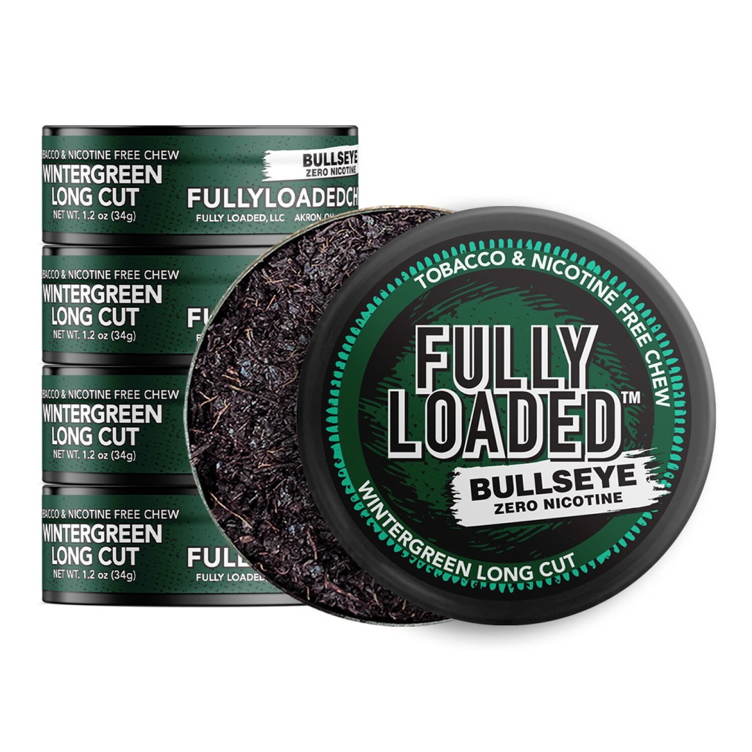 Fully Loaded Chew Tobacco and Nicotine Free Wintergreen Bullseye Long Cut Refreshing Flavor, Chewing Alternative-5 Cans