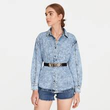 Button Front Drop Shoulder Denim Jacket Without Belt